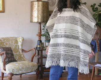 Thick Striped Blanket Poncho White Gray