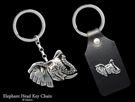 Elephant Head Keychain / Keyring all Sterling Silver or Elephant on Genuine Leather Key Fob