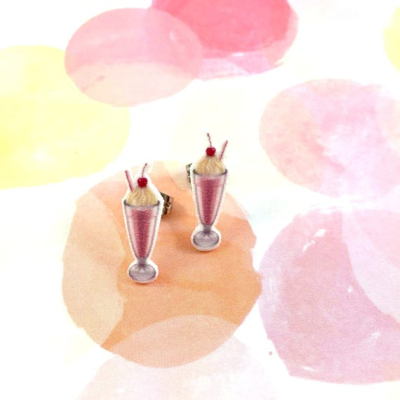 sundae, 50s ice cream, vanilla, cherry, soft ice cream, earrings, light, hypoallergenic, plastic, stainless stud, handmade, les perles rares
