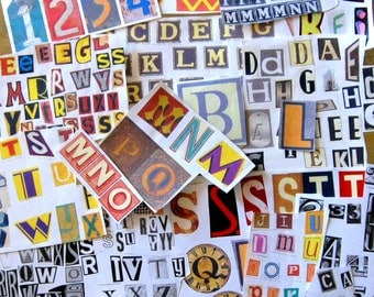 Alphabetical letters and numbers #2.  Ephemera.  Scrapbooking, collages. Craft supplies. Decoupage. Journaling.