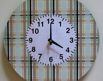 Wall clock. Unique wall clock.  Large wall clock. Plaid clock. Office clock.  Modern clock. Vinyl clock. Recycled vinyl record.