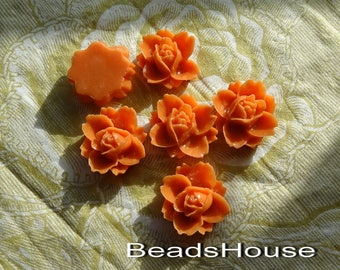620-7466-CA  6pcs Beautiful Rose Cabochons-Orange