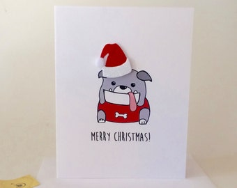 Merry Christmas from the Bulldog, From the Dog, Bulldog Christmas Card made on recycled paper, comes with envelope and seal