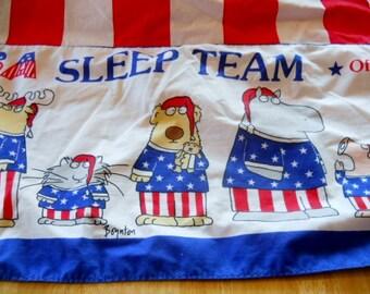 Vintage sheet Twin Flat BOYNTON SLEEP TEAM, red/white/blue great condition