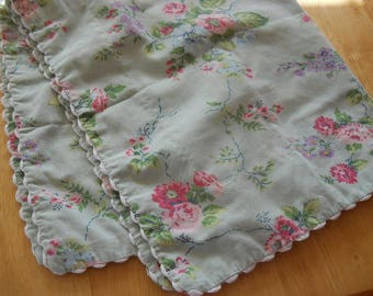Vintage Pillowcase Sham, LAURA ASHLEY,  mint green with pink and blue flowers
