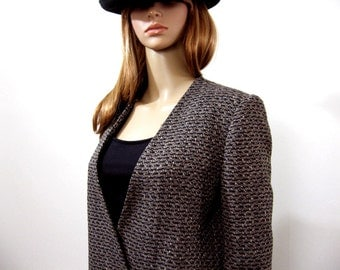 Vintage 1980s Tweed Plaid Jacket Designer Low Cut Double Breasted Blazer / Small