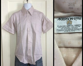 1970's Deadstock tiny Patterned tan short sleeve Shirt size 15.5 Medium NOS by Anderson Little permanent press purple tinted beige