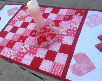Sweet  Hearts 16 x 32 Valentine quilted table runner