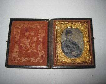 Antique mini Tin Type 1801 SC Dustin Keene NH