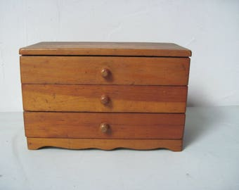 Vintage wood jewelry box with velvet lined drawers