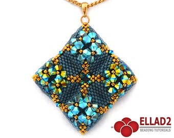 Tutorial Mond Pendant-Beading Tutorial, Beading Pattern, Peyote stitch, Instant Download, Design by Ellad2