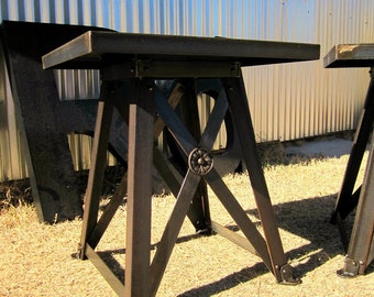 Train Trestle End Table - Vintage Industrial Side Table