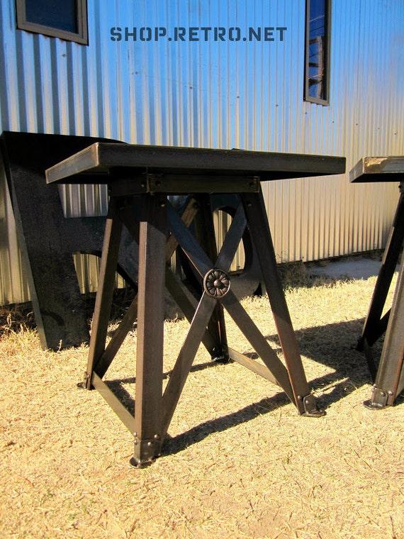 Train Trestle End Table - Vintage Industrial Side Table