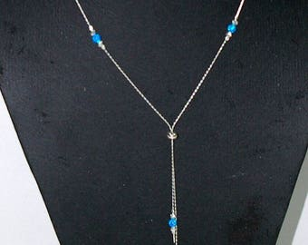 925 Sterling Silver Chain and Laser Cut Beads with 4mm OPAL Beads LARIAT Y NECKLACE. Blue, Green, Pink, White Opal. Free Shipping Worldwide