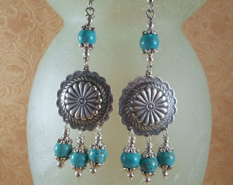Earrings - Silver Plated Conchos with Turquoise Howlite - Southwest Cowgirl