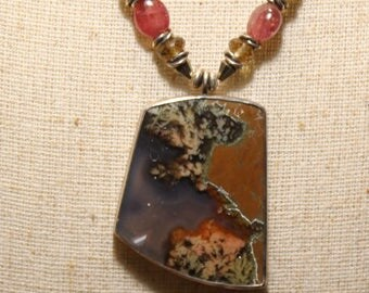 Priday Plume agate necklace by EvyDaywear, Old time material from Richardson's Ranch in Oregon.  Rare plume agate in sterling silver