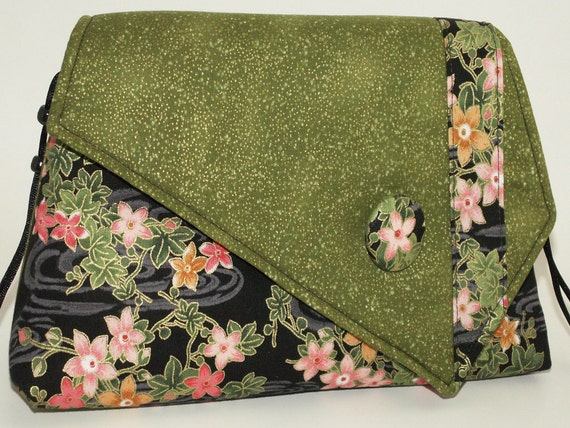 Handmade cotton shoulder bag purse. Green, peach, pink, red, white. Field Flowers Artisan Bag by Lella Rae on Etsy