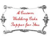 R E S E R V E D for Alice - Custom Fawn Pug Wedding Cake Topper