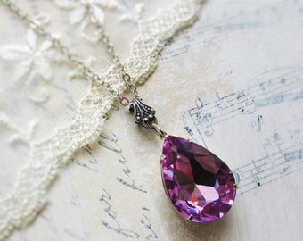 On Sale Bodacious Orchids, Stunning Lilac Purple Rhinestone TearDrop and Silver Plated Necklace by Hollywood Hillbilly