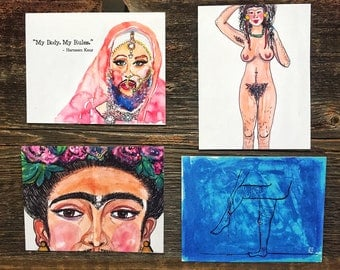 Set of 4 Hairy Body Positive Postcards / original art design by Janice Quiles-Reyes