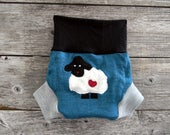 Upcycled  Merino Wool Soaker Cover Diaper Cover With Added Doubler Teal/ Black /Gray With Baa Baa Sheep Applique MEDIUM 6-12M Kidsgogreen