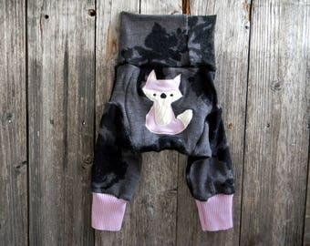 MEDIUM Upcycled Merino Wool  Longies Soaker Cover Diaper Cover With Added Doubler Gray Black Floral Print/ Lavender With Fox Applique 6-12M