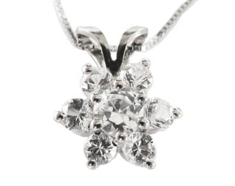 Pendant 14K White gold with One carat White Sapphire Gift for Her