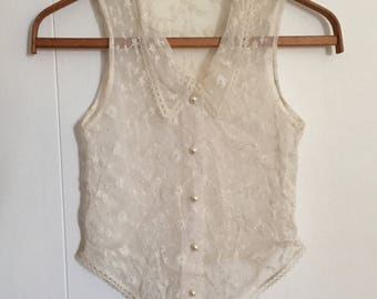 Sheer Embroidered Blouse, Button Down Top, Vintage 1990s, Ivory Cream Stretchy Net,  XXS / XS