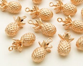 PD-1733-MR / 2 Pcs - Pineapple Charm Pendant, Matte Rose Gold Plated over Brass / 8mm x 16.6mm