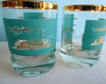 Vintage Libbey Southern Comfort Paddle Wheel Riverboat - Turquoise 22 kt Shot Glasses - Measuring Shot Glasses
