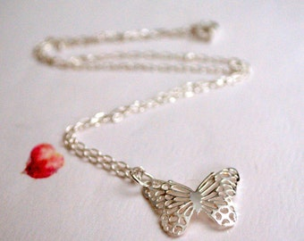 Silver Butterfly Necklace / Sterling Silver Filigree Butterfly Sterling Silver Chain