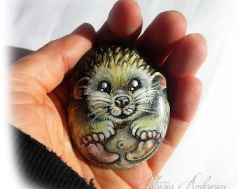 Hedgehog No.9  Handpainted rock painting painted stone miniature painted rock pebble fine art