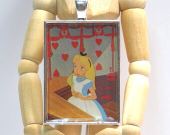 Alice On Trial Pendant Necklace Vintage 1960s Recycled Alice in Wonderland Walt Disney LP Record Story Book Cut-out