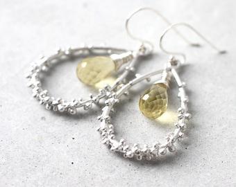 Golden Beryl Earrings, Dangle Drop Sterling Silver Earrings with Teardrop Frame