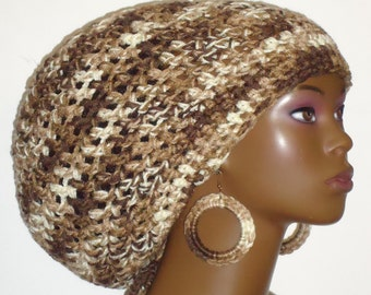 Vanilla n Chocolate Chunky Crochet Large Tam with Drawstring and Earrings by Razonda Lee Razondalee Locs Dreadlocks