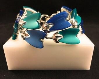 Lisner Lucite Bracelet, Vintage Jewelry, Mid Century Vintage Bracelet, Lisner Jewelry, Modern Blue Green Thermoset Bracelet, Lisner Bracelet