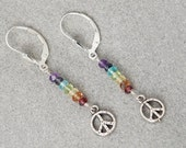 CHAKRA Stones / Chakra earrings / Sterling Silver PEACE SIGN Earrings / Chakra Jewelry / Chakra Stone Set / Chakra Crystals
