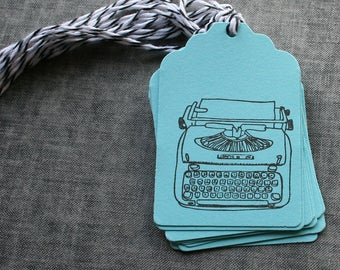 Typewriter Paper Tags, Typewriter Tags, Gift Tags,Gift Tags with Baker's Twine, Stamped Tags