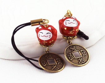 Red Happy Cat Phone Charm - Maneki-Neko on a Lanyard or Dust Plug, Beckoning Red Porcelain Lucky Cat Bead, Antique Gold Brass Coin Charm