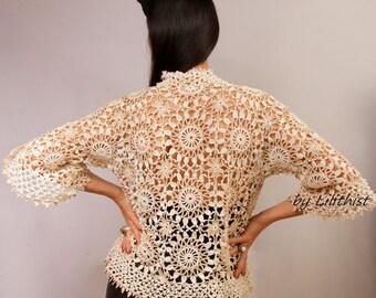 Crochet Lace Cardigan, Lace Jacket, Lace Bolero, Lace Shrug, Ivory Beige Sweater, Boho Crochet Cardigan, Bridal Shrug Bolero