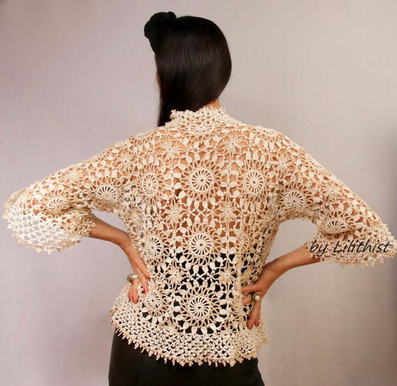 Crochet Lace Cardigan Lace Jacket Lace Bolero Lace Shrug