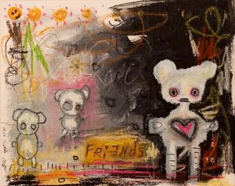 Childrens wall art- Abstract Teddy Bear Painting. cute outsider art, expressionist, graffiti, surrealism art, art brut, raw scribble art