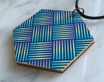SALE 25% OFF, hexagon wooden pendant, Japanese weave pattern, blue, turquoise, pale yellow, pink, leather cord, style 67