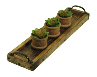 Succulent Plant Tray, Herb Plant Holder, Candle Holder, Candle Tray, Table Centerpiece Candle Holder, Mantle Candle Holder