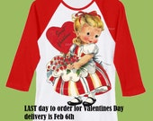 Sweetheart Valentines Day, Girls shirt,Be mine, Vintage valentine, long sleeves, Red Raglan shirt by ChiTownBoutique.etsy