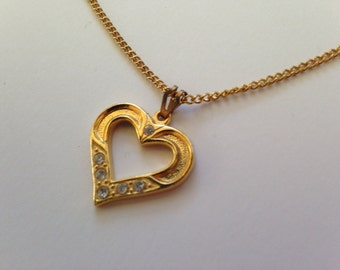 "Vintage Valentine's Day Heart Necklace, Gold and Rhinestone Necklace with 18"" Chain, Costume Jewelry Heart Necklace,"