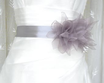 Handcraft Grey Lotus Bridal Wedding Dress Sash Belt