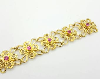 Avon Bold Flowers bracelet 1993 mint condition Wide Links Pink Gold Delicate