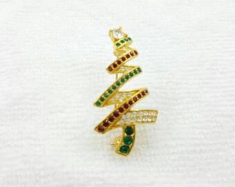 Monet Rhinestone Christmas Tree  Brooch Holiday Seasonal Well made