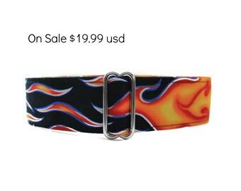 Flames Martingale Collar, Greyhound Martingale Collar, 2 Inch Martingale Collar, Flames Dog Collar, Red Dog Collar, Custom Dog Collar
